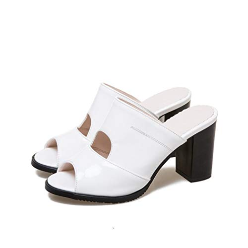 (Thick Block Heeled Slides Sandal for Women Water Proof Faux Leather Peep Toe Arch Support Prom Shoes White)