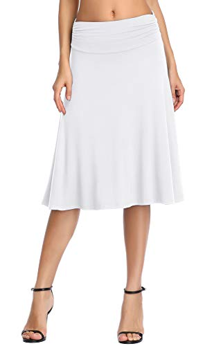 Urban CoCo Women's Ruched Waist Stretchy Flared Yoga Skirt (L, White)