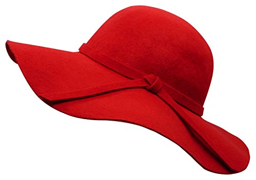 Bienvenu Ladies Wide Brim Wool Hats Floppy Cloche Cap Red