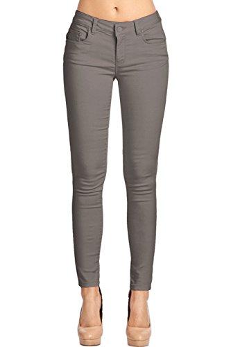 2LUV Women's Stretchy 5 Pocket Skinny Color Uniform Pants Back to School Junior Clothing Apparel Grey 1 ()