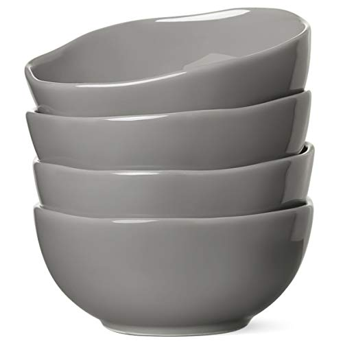 Le Tauci 4 Piece Ceramic Cereal Bowl Set, 22 Ounce Grey