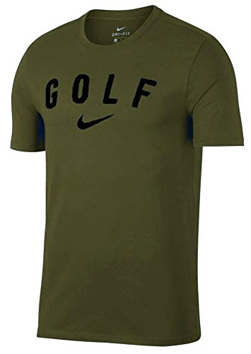 Nike Dry SS Graphics Tee Golf T-Shirt 2018 (Olive Canvas/Midnight Spruce, Large)
