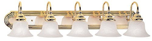 Drawing Room Collection Wall Bracket (Livex Lighting 1005-25 Belmont 5-Light Bath Light, Polished Brass and Chrome )