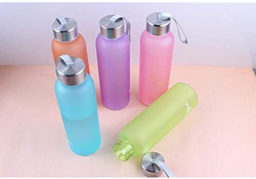 Weimay Sports Glass Water Bottle Candy-Colored Belt Lanyard Frosted Cups with Stainless Steel Lid Ideal for School Home Office Travel Sport Yoga Gym Hot Cold Drinks