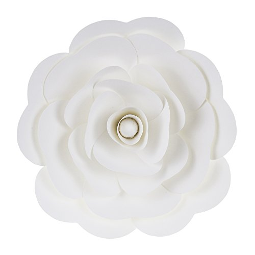 Mega Crafts 16'' Handmade Paper Flower in White | For Home Décor, Wedding Bouquets & Receptions, Event Flower Planning, Table Centerpieces, Backdrop Wall Decoration, Garlands & Parties
