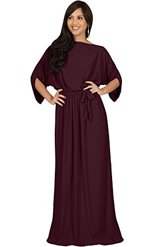 (KOH KOH Plus Size Womens Long Flowy Casual Short Half Sleeve with Sleeves Fall Winter Floor Length Evening Modest A-line Formal Maternity Gown Gowns Maxi Dress Dresses, Maroon Wine Red XL 14-16)