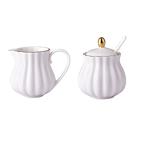 (CHOOLD Elegant Flower Design Ceramic Sugar and Creamer Set with Lid Spoon Creamer Serving Set Coffee Serving Set Wedding Gift 7.5oz)