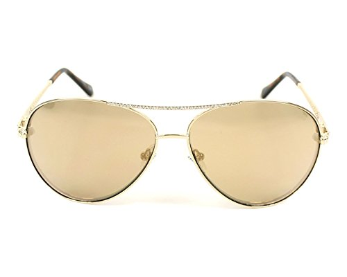 Guess g chaîne aviator lunettes de soleil en or brun miroir GU7470-S 32G 60 Brown Mirror Gold