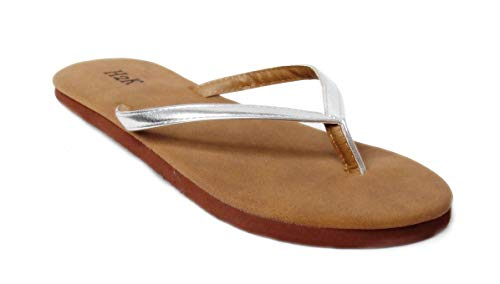 Women's Classic Lightweight Comfort Flat Thong Flip Flop Sandals Buena (8 B(M) US, Silver)