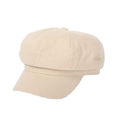Spring Autumn Newsboy Cap Cotton Linen Flat Top Hat Solid Color Casual Octagonal Caps