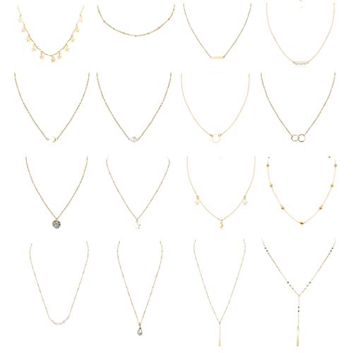 FUNRUN JEWELRY 16PCS Layered Chocker Necklace for Women Girls Sexy Coin Moon Star Multilayer Choker Chain Necklace Set Adjustable