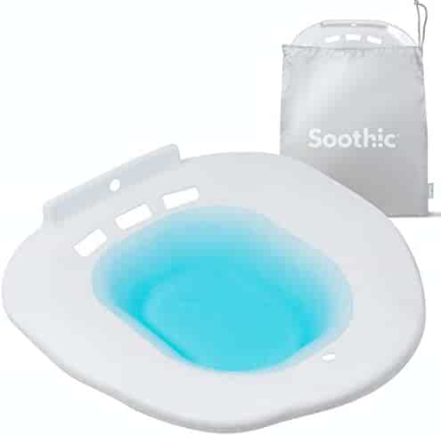 SOOTHIC Sitz Bath for Toilet Seat - Discreet White, Easy Attachment, Universal Fit - Postpartum Care Kit for Hemorrhoids and Pain