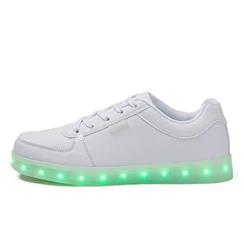 Scarpe da Corsa LED per Uomo e Donna. 7 Colori modificabili Lampeggianti. Sneaker Tecnica per Sport all'Aria Aperta. Le luci a LED Sono Ricaricabili Tramite la Linea USB Bianco