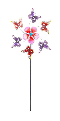 Continental Art Center 24''x24''x64'' Pink flower and butterfly kinetic stake by Continental Art Center