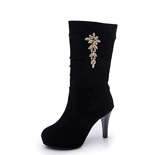 In High Eu 37 Cylinder Shoes 39 Ladies Work Bottom nero Table Elegant Sed Waterproof Thick Eu Boots 5gHTx