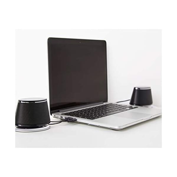 AmazonBasics Enceintes pour ordinateur alimentées par USB avec son dynamique | Noir, lot de 4 7
