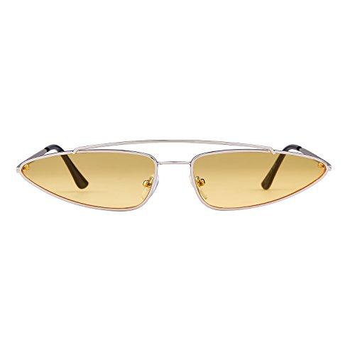 Vintage Diseñador Amarillo Mujeres 2018 Marco Hombres Retro 1 para Metal ADEWU Sunglasses Lente Plata Small Eye Cat qwxv8nY46