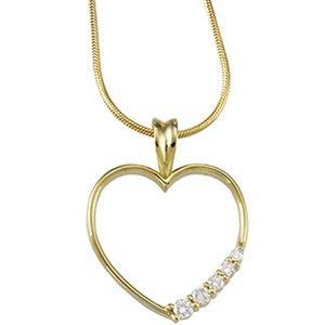 Or jaune 14 carats avec pendentif en forme de cœur avec diamants bruts de voyage 1/5ct JewelryWeb -