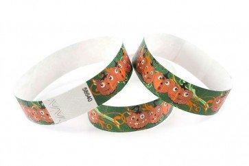 Wristband Giant 3/4 Tyvek Halloween Happy Pumpkins Pattern Pack of 100