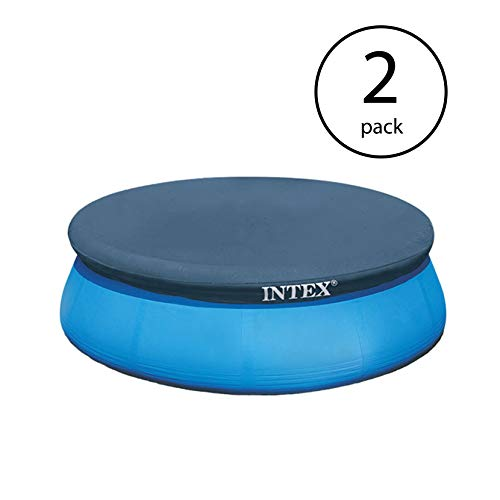 Intex 8 Foot Easy Set Above Ground Swimming Pool Debris Vinyl Round Cover Tarp (2 Pack)