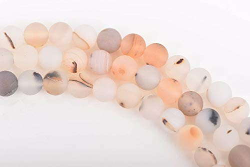 - 10mm White Chocolate Agate Round Beads, Frosted Matte, Non-Faceted, gag0339 Jewelry Making Supplies Set Crafts DIY Kit