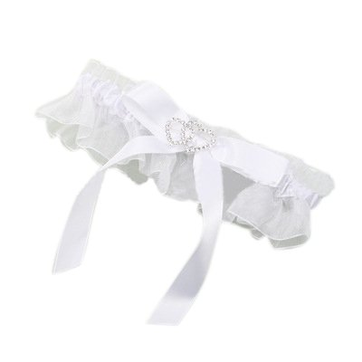 MuLuo Women's Rhinestone Double Hearts Satin Bow Bridal Garter for Wedding Party