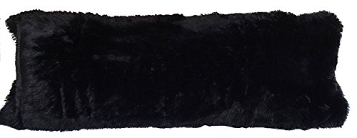 Luxurious Faux Fur Body Pillow Cover with Long Hair, Removable with Sturdy Zipper Closure, Ultra Soft, Fits up To 20 X 54 in Body Pillow (Choice of Black, Off White, Pink, Turquoise, Caramel) (BLACK)