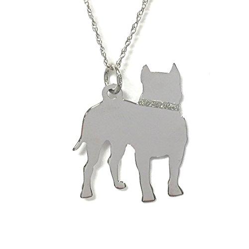 Pitt Bull Glitter Collar Sterling Silver Rhodium Plated Dog Pendant