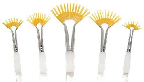 (Royal Brush Aqualon Fan Golden Taklon Hair Acrylic Plastic Wisp Brush Set, Assorted Size, Set of 5)