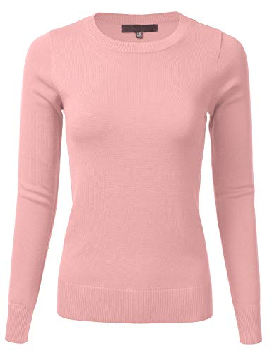 Women's Long Sleeve Soft Crewneck Ribbed Trim Border Knit Top Sweater PEACHBEIGE L