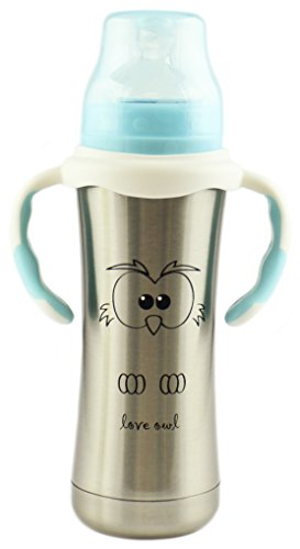 (MoomooBaby Stainless Steel Baby Bottle with Fast Flow Silicone Nipple & Matching Handle 8-Ounce)