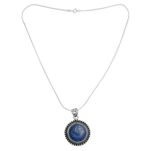 NOVICA Lapis Lazuli .925 Sterling Silver Round Pendant Necklace, 15.75 Sky Over Varkala