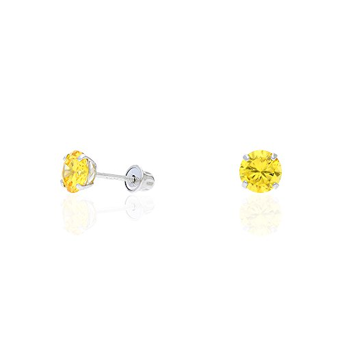 14k Yellow Gold White Gold 1.50Ct Birthstone Round Stud Screw Back Earrings Citrine & Sapphire Round Earrings