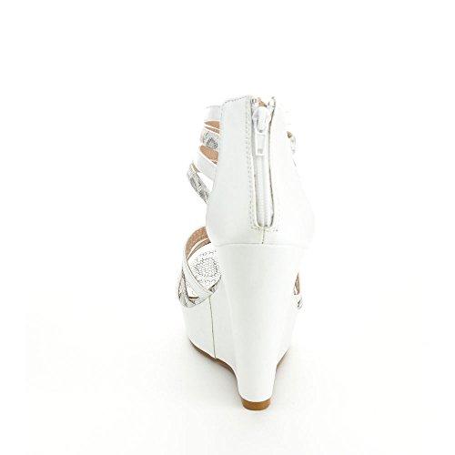 Annie Pinky Gayle-01 Womens Open Toe Strappy Platform Wedge Sandals White EqWIY0VUe