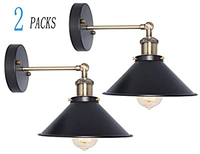 BRIGHTESS W8904 180 Degree Adjustable Retro Wall Sconces Wall Mount Set of 2 Packs Black Industrial Vintage Edison Wall Lamp Indoor Fixture Led Porch Light (HARDWIRE X 2 Packs)