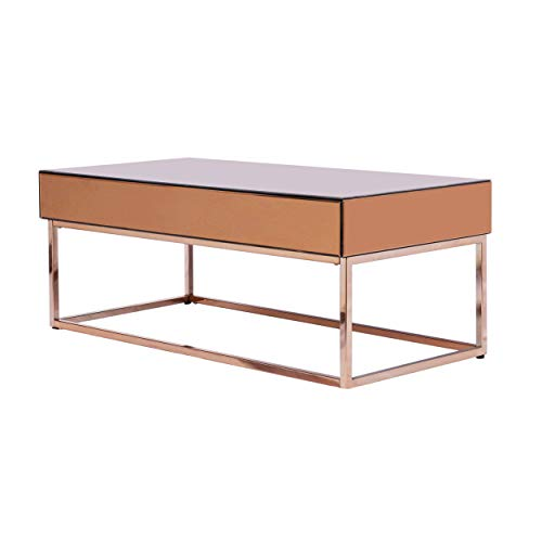 Barnes Mirrored Coffee Table | Bronze | Electroplated Frame | Modern Glam
