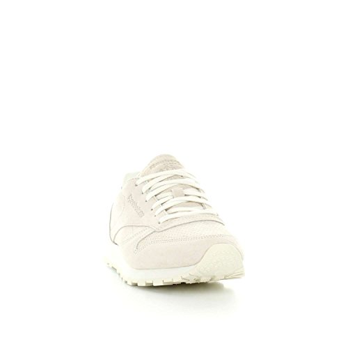 Reebok CL LTHR NBK - Zapatillas deportivas, Mujer, Beige - (CHALK/SANDSTONE)