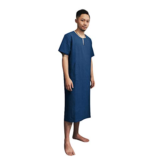 - 7 VEILS Men's Linen Robe Casual Kaftan Cotton Thobe V Neck Long Gown Side with Pockets Caftan (L, (Short)Greyish Blue)