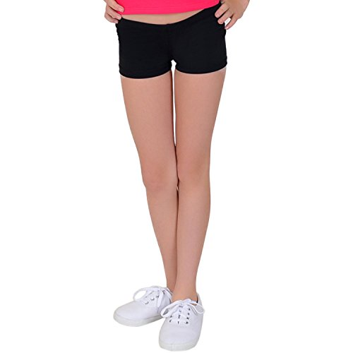 (Stretch is Comfort Girl's Cotton Stretch Booty Shorts Black X)