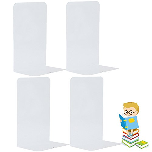 (Economy Bookends Universal Heavy for Office,8.25 Inch, 4pcs(2 Pairs) by Sun Cling,White)