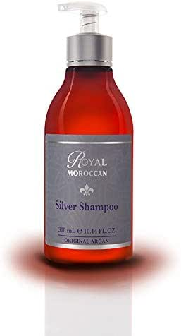 New Silver Shampoo 300 ml / 10.05 fl.oz. Anti Yellow For Blond Hair, Purple Shampoo For Gray Hair,{Man Gray Hair Too } Paraben Free, Royal Moroccan Hair Products.Moroccan Argan Oil