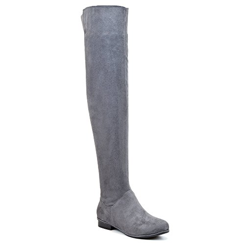 WOMENS OVER THE KNEE HIGH FLAT LADIES LONG FAUX SUEDE THIGH HIGH BOOTS SIZE 3-8 (8 B(M) US, Grey Faux Suede)