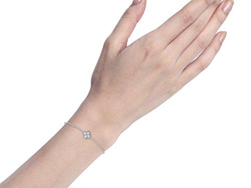 Or Blanc 14 ct Bracelet Diamant en forme de fleur, 0.26 Ct Diamant, GH-SI, 1.47 grammes.