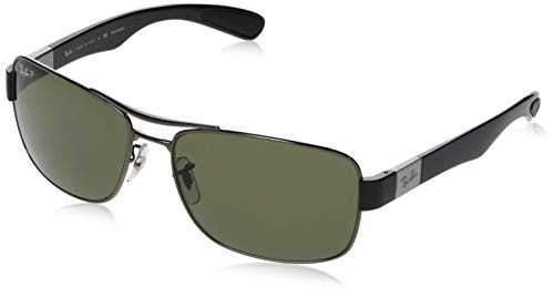 Ray-Ban Men's RB3522 Square Metal Sunglasses, Gunmetal/Polarized Green, 61 mm (Rb3528)