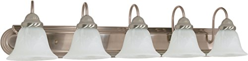 - Filament Design 7777922323 5-Light Brushed Nickel Vanity Light with Alabaster Glass Bell Shade,