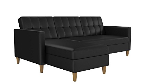 DHP Hartford Storage Sectional Futon with Interchangeable Chaise, Space-saving Design with Multi-position Back, Wooden Legs, Black Faux Leather (Small Sofas Sectional)