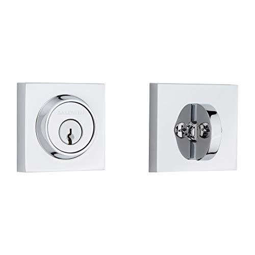 Baldwin Reserve 9BR3800-016 Contemporary Square Single Cylinder Deadbolt in Polished Chrome