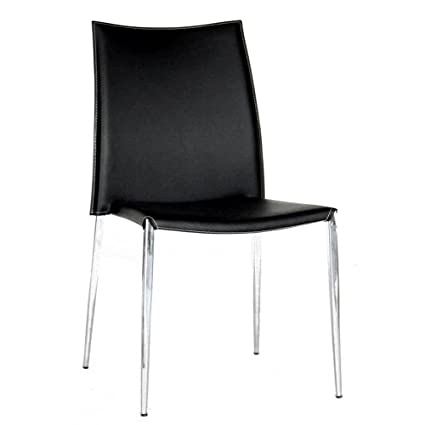 Terrific Amazon Com Baxton Studio Leather Dining Chair Black Beatyapartments Chair Design Images Beatyapartmentscom