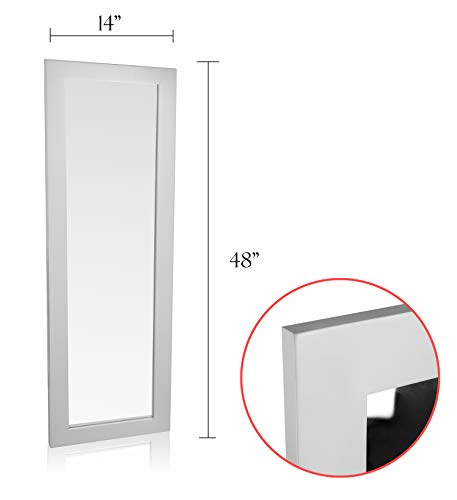 (Organize City White Full Length Wall Mirror, Over The Door Mirror Wall Rectangular with Installation and Instructions Included – 14'' x 48'')