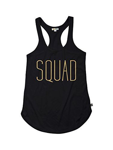 Tipsy Elves Womens Black Squad Tank Top  Small